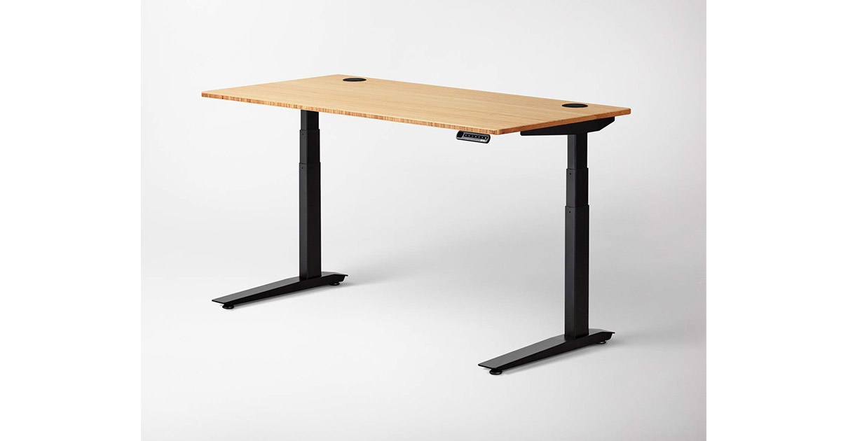 Jarvis Standing Desk Bamboo Top Electric 48 x 30 inches Adjustable Height Sit Stand Desk image