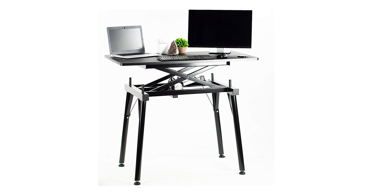 VIVO DESK-V100ZE Black Electric Height Adjustable 44x24 inches standing Desk image