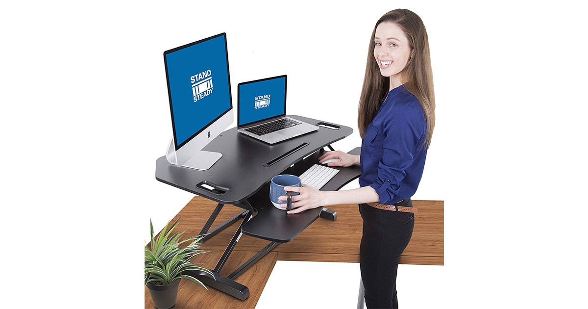 Stand Steady Flexpro Hero Corner Two Level 37 Inch Standing Desk Converter image