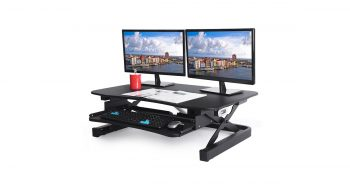 ApexDesk EDR-3612-BLACK ZT Series Height Adjustable 36x24 inches Sit to Stand Electric Desk Converter image